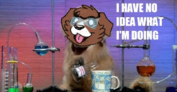 Size: 600x315 | Tagged: artist:askwinonadog, ask, ask winona, beaker, description is relevant, dog, edit, has science gone too far?, i have no idea what i'm doing, mug, photo, safe, safety goggles, science, solo, tongue out, tumblr, winona