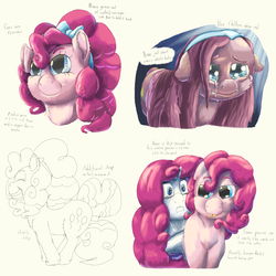 Size: 2160x2160 | Tagged: artist:firefanatic, bow, chubby, crying, cute, hammerspace hair, hiding, impossibly large mane, :p, pinkamena diane pie, pinkie pie, rarity, redesign, safe, smiling, text, tongue out