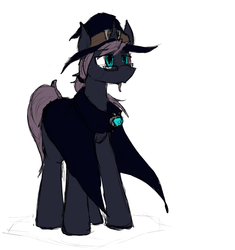 Size: 1392x1479   Tagged: safe, artist:candel, oc, oc only, oc:acerbus, pony, unicorn, cloak, clothes, colored sketch, glasses, hat, male, simple background, solo, white background, wizard hat