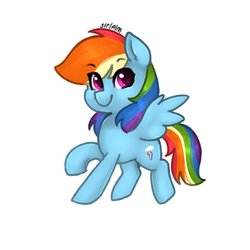 Size: 768x768 | Tagged: safe, artist:siripim111, rainbow dash, pegasus, pony, cute, cutie mark, dashabetes, female, looking at you, simple background, smiling, solo, spread wings, white background, wings