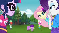 Size: 1920x1080 | Tagged: safe, screencap, bulk biceps, fluttershy, peppermint azure, princess thunder guts, rarity, sci-twi, spike, spike the regular dog, twilight sparkle, dog, equestria girls, equestria girls series, lost and pound, spoiler:choose your own ending (season 2), spoiler:eqg series (season 2), cute, female, geode of fauna, glasses, hat, lost and pound: spike, magical geodes, male, outdoors, shyabetes, spike's festival hat