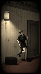 Size: 2160x3840 | Tagged: anthro, artist:epsilonwolf, cigar, clothes, dress, female, gun, octavia melody, p90, safe, sepia, solo, suitcase, vignette, weapon