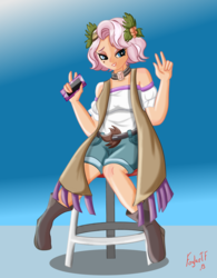 Size: 3863x4963 | Tagged: artist:foylertf, beauty mark, cellphone, clothes, equestria girls, equestria girls series, female, flower, flower in hair, holly, human coloration, peace sign, phone, safe, shorts, simple background, sitting, smartphone, stool, vignette valencia