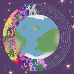 Size: 2415x2412 | Tagged: safe, artist:sixes&sevens, screwball, oc, oc:prince mentiad, alicorn, earth pony, pony, alicorn oc, globe, inktober, inktober 2019, space, stars