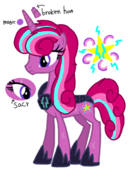 Size: 1080x1440 | Tagged: artist:徐詩珮, broken horn, female, horn, magical lesbian spawn, mare, next generation, oc, oc:berry shadow, offspring, parent:glitter drops, parents:glittershadow, parent:tempest shadow, safe, unicorn