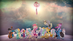 Size: 3840x2160 | Tagged: 3d, 4k resolution, alicorn, aloe, amputee, applejack, applejack's hat, artist:aeridiccore, artist:imafutureguitarhero, barrel, berry punch, berryshine, bon bon, bon bon is not amused, bow (instrument), carrot top, cello, cello bow, cheerilee, chromatic aberration, cider, cloudchaser, colored eyebrows, colored eyelashes, cowboy hat, derpy hooves, dj pon-3, drunk, earth pony, female, film grain, flitter, floppy ears, fluttershy, flying, frown, golden harvest, group, group photo, group shot, hat, hay bale, headphones, horn, kerfuffle, lens flare, lightning dust, lotus blossom, mailmare, mailmare hat, mane six, mare, missing accessory, musical instrument, nurse redheart, octavia is not amused, octavia melody, open mouth, package, pegasus, pinkamena diane pie, pinkie clone, pinkie pie, pinkie sad, pony, prosthetic leg, prosthetic limb, prosthetics, rainbow dash, raised eyebrow, rarity, rearing, revamped ponies, safe, self ponidox, signature, sitting, sleeping, smiling, source filmmaker, spitfire, standing on hindlegs, sweetie drops, trixie, twilight sparkle, twilight sparkle (alicorn), unamused, unicorn, vinyl scratch, wall of tags, wallpaper, wings