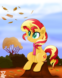 Size: 2900x3625 | Tagged: artist:theretroart88, autumn, bush, clothes, cute, female, high res, mare, pony, safe, scarf, scenery, shimmerbetes, sitting, smiling, solo, sunset shimmer, tree, tree stump, unicorn, updated