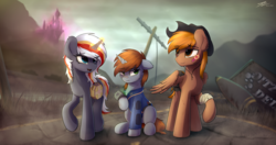 Size: 3864x2040 | Tagged: safe, artist:av-4, artist:avastin4, oc, oc only, oc:calamity, oc:littlepip, oc:velvet remedy, pegasus, pony, unicorn, fallout equestria, bandage, bandaid, canterlot, canterlot castle, chest fluff, clothes, cowboy hat, dashite, eye clipping through hair, fanfic, fanfic art, female, floppy ears, fluttershy medical saddlebag, glowing horn, hat, hooves, horn, looking at you, magic, male, mare, medical saddlebag, open mouth, patch, pink cloud (fo:e), pipbuck, power line, raised hoof, road, saddle bag, sitting, smiling, stallion, telekinesis, vault suit, wasteland, wings