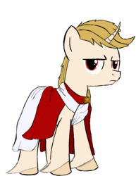 Size: 792x1024 | Tagged: clothes, curved horn, grumpy, horn, oc, oc only, oc:regal inkwell, pony, safe, toga, unshorn fetlocks