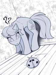Size: 1720x2310 | Tagged: safe, artist:yakovlev-vad, octavia melody, earth pony, insect, ladybug, pony, :<, adorable distress, against wall, arched back, back fluff, backwards cutie mark, behaving like a cat, bristling fur, cheek fluff, coccinellidaephobia, confused, cute, ear fluff, female, floppy ears, frown, hoof fluff, leg fluff, looking at something, mare, question mark, scared, shoulder fluff, sketch, solo, tavibetes, tavicat, wide eyes