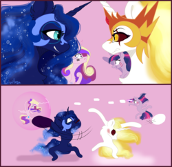 Size: 3096x3000 | Tagged: alicorn, artist:livitoza, daybreaker, evil sisters, fight, force field, nightmare moon, pillow, pillow fight, princess cadance, safe, twilight sparkle, twilight sparkle (alicorn)