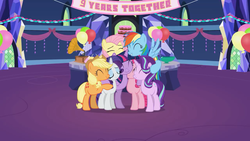 Size: 1280x720 | Tagged: safe, artist:agrol, applejack, fluttershy, pinkie pie, rainbow dash, rarity, starlight glimmer, twilight sparkle, alicorn, earth pony, pegasus, pony, unicorn, group, group hug, happy birthday mlp:fim, hug, mane six, mlp fim's ninth anniversary, twilight sparkle (alicorn)