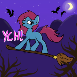 Size: 2100x2100 | Tagged: advertisement, artist:lannielona, bat, branches, broom, commission, female, flying, halloween, hill, holiday, looking back, mare, moon, moonlight, night, oc, :p, pony, safe, solo, stars, tongue out, tree, witch, your character here