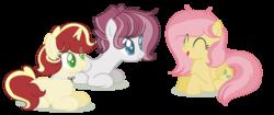 Size: 2688x1124 | Tagged: safe, artist:browniepawyt, oc, oc only, oc:apple wine, oc:primrose, pegasus, pony, female, mare, offspring, parent:applejack, parent:flim, parents:flimjack, prone, simple background, transparent background