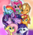 Size: 3371x3509 | Tagged: safe, artist:artiks, applejack, fluttershy, pinkie pie, rainbow dash, rarity, spike, starlight glimmer, sunset shimmer, twilight sparkle, alicorn, dragon, earth pony, pegasus, pony, unicorn, bust, cheek fluff, chest fluff, cute, ear fluff, featured image, female, group photo, happy birthday mlp:fim, male, mane eight, mane seven, mane six, mare, mlp fim's ninth anniversary, multicolored background, portrait, smiling, text, twilight sparkle (alicorn), wide smile, winged spike