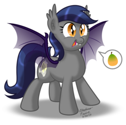 Size: 899x889 | Tagged: artist:aleximusprime, bat pony, bat pony oc, bat wings, echo (bat pony), excited, female, female oc, food, hungry, mango, mare, mascot, oc, oc:echo, ococtober, oc only, pictogram, pony, safe, sharp teeth, slit eyes, slit pupils, solo, teeth, translucent, wings