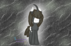 Size: 1252x800 | Tagged: artist needed, safe, oc, oc only, oc:gloomy rose, pony, unicorn, abstract background, base used, covered eyes, female, full body, mare, smiling, solo