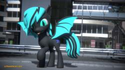 Size: 3840x2160 | Tagged: safe, artist:phoenixtm, oc, oc:sapphire light, bat pony, pony, 3d, bat pony oc, cute, happy, spread wings, tongue out, watermark, weapons-grade cute, wings