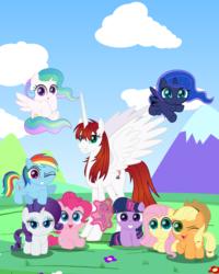 Size: 2400x3000 | Tagged: safe, artist:spellboundcanvas, applejack, fluttershy, pinkie pie, princess celestia, princess luna, rainbow dash, rarity, spike, twilight sparkle, oc, oc:fausticorn, alicorn, earth pony, pegasus, pony, unicorn, applejack's hat, chibi, cowboy hat, cute, cutelestia, dashabetes, diapinkes, flower, happy birthday mlp:fim, hat, jackabetes, lauren faust, lunabetes, mlp fim's ninth anniversary, mountain, raribetes, shyabetes, spikabetes, twiabetes