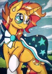 Size: 1437x2048 | Tagged: safe, artist:canvymamamoo, sunburst, pony, unicorn, chest fluff, clothes, cute, cutie mark, ear fluff, glasses, male, raised hoof, robe, smiling, socks (coat markings), solo, stallion, sunburst's cloak