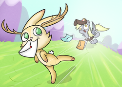 Size: 1506x1080 | Tagged: artist:cookieboy011, derpy hooves, jackalope, letter, mailmare, pegasus, pony, running, safe, youtube link in the description