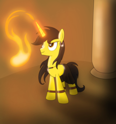 Size: 4991x5321 | Tagged: safe, artist:blazeburn386, oc, oc only, oc:blaze burn, pony, unicorn, bracelet, clothes, dark, ear piercing, earring, fire, fireball, flamethrower, glowing horn, horn, jewelry, long hair, magic, magic show, male, necklace, paint tool sai, performance, photoshop, piercing, room, solo, stallion, standing, tunic, weapon