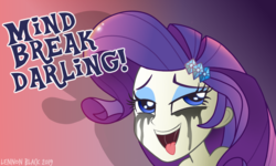 Size: 1000x600 | Tagged: abstract background, ahegao, alternate version, artist:lennonblack, crying, darling, drool, equestria girls, female, implied rape, implied sex, makeup, mind break, open mouth, rarity, running makeup, safe, solo, speech, tongue out
