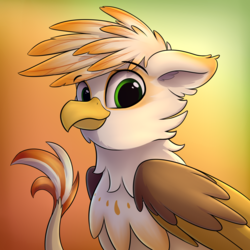 Size: 2552x2552 | Tagged: artist:av-4, bust, catbird, eared griffon, griffon, griffon oc, looking at you, oc, oc:ember burd, oc only, portrait, safe, simple background, solo
