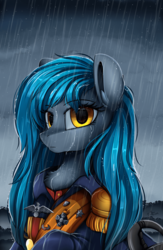 Size: 2550x3909 | Tagged: artist:pridark, bust, clothes, commission, female, looking at you, medal, oc, oc:regenfall, pony, portrait, rain, safe, solo, uniform, wet mane, yellow eyes