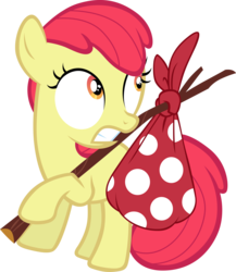 Size: 5431x6248 | Tagged: absurd res, accessory-less edit, apple bloom, artist:tardifice, bindle stick, earth pony, edit, editor:slayerbvc, female, filly, missing accessory, pony, safe, simple background, solo, transparent background, vector, vector edit