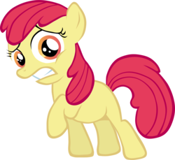 Size: 3515x3226 | Tagged: accessory-less edit, apple bloom, artist:blindcavesalamander, earth pony, edit, editor:slayerbvc, female, filly, high res, missing accessory, pony, safe, scared, simple background, solo, the show stoppers, transparent background, vector, vector edit