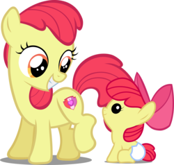 Size: 4694x4475 | Tagged: accessory-less edit, accessory swap, apple bloom's bow, artist:lilcinnamon, artist:paulyvectors, baby, baby ponidox, baby pony, bow, diaper, earth pony, edit, editor:slayerbvc, female, filly, foal, grin, hair bow, looking down, looking up, pony, safe, self ponidox, simple background, sitting, smiling, time paradox, transparent background, vector, vector edit