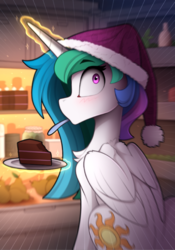 Size: 1069x1525 | Tagged: safe, artist:yakovlev-vad, princess celestia, alicorn, pony, blushing, cake, cakelestia, caught, christmas, cropped, cute, eating, female, food, hat, holiday, levitation, magic, mare, midnight snack, no mouth, refrigerator, santa hat, solo, surprised, telekinesis, that pony sure loves cake
