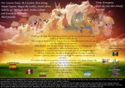 Size: 1920x1350 | Tagged: ashleigh ball, brony, craig mccracken, deseased, flag, lauren faust, misspelling, nicole oliver, request, safe, singed, tabitha st. germain, tara strong