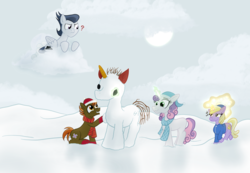 Size: 3629x2512 | Tagged: ambush, artist:sixes&sevens, button mash, clothes, cloud, colt, dinky hooves, earth pony, female, filly, hat, inktober, inktober 2019, jacket, leaves, levitation, magic, male, pegasus, rumble, safe, scarf, snow, snowball, snowpony, sweetie belle, telekinesis, unicorn, winter