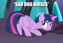 Size: 1089x747 | Tagged: alicorn, behaving like a dog, butt, caption, descriptive noise, edit, edited screencap, image macro, plot, sad, safe, screencap, solo, spoiler:s09e01, spoiler:s09e02, text, the beginning of the end, twilight sparkle, twilight sparkle (alicorn)