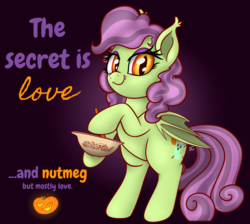 Size: 3053x2735 | Tagged: artist:xchan, baking, bat pony, bat pony oc, bowl, cute, ghost, heart eyes, mixing, mixing bowl, oc, oc:spooky treats, one eye closed, pony, pumpkin, rearing, safe, simple background, solo, stirring, text, wingding eyes, wink