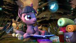Size: 3840x2160 | Tagged: 3d, alicorn, artist:alicorntwilysparkle, bags, book, butterfly, duo, forest, hot drink, open mouth, owlowiscious, pony, revamped ponies, safe, scroll, source filmmaker, steam, twilight sparkle, twilight sparkle (alicorn)