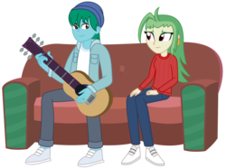 Size: 3125x2326 | Tagged: artist:sketchmcreations, azurlaeno, beanie, canon x oc, captain celaeno, clothes, commission, couch, ear piercing, earring, equestria girls, equestria girls-ified, guitar, hat, hooded jacket, human, humanized, jeans, jewelry, married couple, musical instrument, my little pony: the movie, oc, oc:azure glide, pants, piercing, ring, safe, shoes, sweater, vector, wedding ring, white shirt