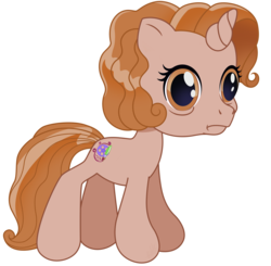 Size: 1530x1500 | Tagged: artist, artist:knadire, brown eyes, brown mane, cel shading, curly hair, curly mane, distressed, female, film reel, g3.5, generation 3.5, mare, newborn cuties, oc, oc:cell shader, oc only, once upon a my little pony time, over two rainbows, paintbrush, pony, safe, shading, shell shock, simple background, solo, so many different ways to play, style challenge, terror, thousand yard stare, transparent background, unicorn, upset