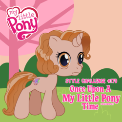 Size: 2000x2000 | Tagged: artist, artist:knadire, brown eyes, brown mane, bush, cel shading, curly hair, curly mane, distressed, female, film reel, g3.5, generation 3.5, hill, mare, newborn cuties, oc, oc:cell shader, oc only, once upon a my little pony time, over two rainbows, paint tool sairush, pony, safe, shading, shell shock, simple background, solo, so many different ways to play, style challenge, terror, thousand yard stare, tree, unicorn, upset