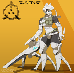 Size: 2950x2900 | Tagged: anthro, armor, artist:bass-javelin, biomechanoid, clothes, cyborg, design, genderless, gloves, gun, long gloves, muscles, oc, oc only, original species, robot, safe, science fiction, simple background, solo, tactical vest, weapon