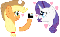 Size: 1124x687 | Tagged: applejack, artist:raritybro, crying, earth pony, female, happy birthday mlp:fim, heart, lesbian, mlp fim's ninth anniversary, ms paint, pony, proposal, rarijack, rarity, ring, safe, shipping, smiling, tears of joy, unicorn, wedding ring