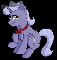 Size: 1280x1345 | Tagged: safe, artist:rainbowtashie, igneous rock pie, night light, oc, oc:evening emeralds, earth pony, pony, unicorn, bowtie, commissioner:bigonionbean, cutie mark, fusion, fusion:evening emeralds, hat, male, solo, stallion
