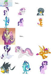 Size: 3104x4600 | Tagged: artist needed, safe, gabby, princess ember, rarity, smolder, spike, starlight glimmer, sweetie belle, dragon, griffon, pony, unicorn, the last problem, spoiler:s09, bedroom eyes, click on the image, collage, disgusted, emberspike, female, gigachad spike, male, muscles, older, older spike, older sweetie belle, pillow, shipping, spabby, sparity, sparlight, spike gets all the mares, spikebelle, spolder, straight