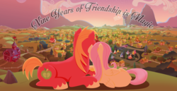Size: 3920x2025 | Tagged: anonymous artist, big macintosh, canterlot, earth pony, facing away, female, fluttermac, fluttershy, happy birthday mlp:fim, holding hooves, lineless, male, mlp fim's ninth anniversary, nuzzling, pegasus, pony, ponyville, prone, safe, series:fm holidays, shipping, straight, sunset, sweet apple acres