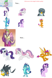 Size: 3104x4600 | Tagged: artist needed, safe, gabby, princess ember, rarity, smolder, spike, starlight glimmer, sweetie belle, alicorn, dragon, griffon, pony, the last problem, disgusted, emberspike, fangirl, female, gigachad spike, love, male, muscles, older, older spike, older sweetie belle, shipping, spabby, sparity, spikebelle, straight