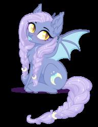 Size: 3986x5196 | Tagged: safe, artist:doctorkoda, artist:sparkling_light, oc, oc only, oc:crispy crescent, bat pony, pony, female, mare, simple background, solo, tongue out, transparent background