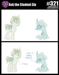 Size: 800x1026 | Tagged: 2 panel comic, artist:sintakhra, changedling, changeling, clothes, comic, cosplay, costume, dialogue, duo, impressions, nightmare night costume, ocellus, ocellus is not amused, pony, safe, sandbar, tumblr:studentsix, unamused