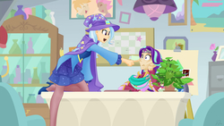 Size: 1760x990 | Tagged: safe, artist:didj, phyllis, starlight glimmer, trixie, human, my little mages, a horse shoe-in, boop, cape, clothes, hat, humanized, scene interpretation, trixie's cape, trixie's hat